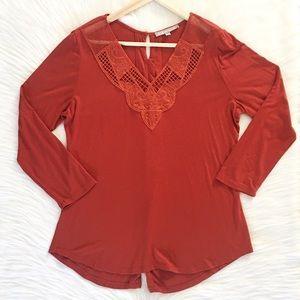Daniel Rainn 3/4 Sleeve Embroidered Blouse